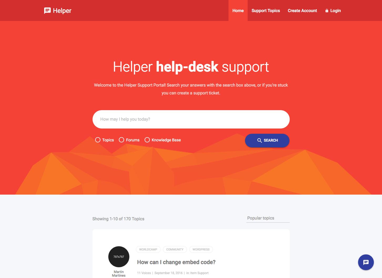 helper support desk website template. Black Bedroom Furniture Sets. Home Design Ideas